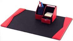 Contemporary Red Contemporary Leather 2Pc Desk Set