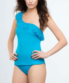 Take a look at this Turquoise Sculpture Club Asymmetrical Tankini Top by Be Creative on #zulily today!