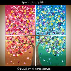 "Original Four Seasons Painting - Large Square Original Modern  Art On Canvas Painting Tree Wall Decor ""365 Days of Happiness III"""