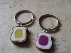 2 Keychains , peanut butter and jelly , friends forever, bff, gift for couples, best friends gift,  friendship Jewelry, Silver Keyring
