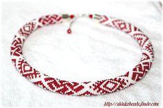 Latvian ethnical motives Fire cross or Thunder cross bead crocheted necklace - seed bead bangle - geometric pattern