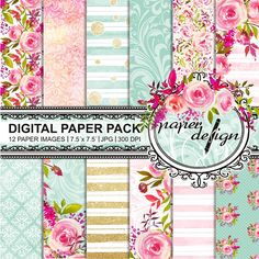 invites cards Shabby Chic Digital Paper LILAC PINK GREEN Floral background with roses for scrapbooking