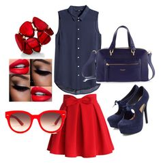 """""""Blue and red"""" by leoigrandleo ❤ liked on Polyvore featuring Chicwish, H&M, Henri Bendel, Equipment and INC International Concepts"""