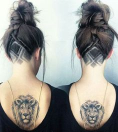 Lion Head Daring Back Tattoo Ideas for Women