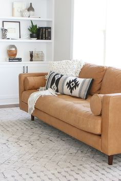 """"""" I ordered the Sven sofa in Charme Tan (although it comes in a chair and loveseat option. Living Room Sets, Home Living Room, Living Room Decor, Living Spaces, Tan Leather Sofas, Best Leather Sofa, Soft Leather, Black Leather, Tan Sofa"""