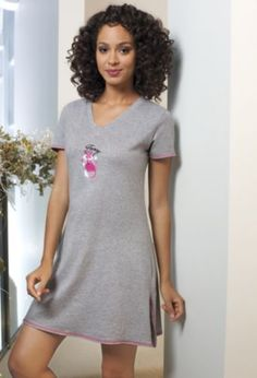 Foxy Night Shirt from Monroe and Main. Embroidered fox on a cozy shirt. Pink topstitching at sleeves, hem and side slits.