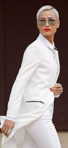 #hair #shorthair Love this short crop hair cut and long white blazer.  White skinny pants.