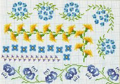 Cross-stitch Floral Borders... no color chart available, just use pattern chart as your color guide.. or choose your own colors.. Gallery.ru / Фото #15 - 3 - Auroraten