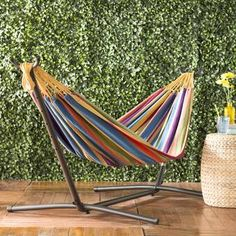 Beachcrest Home Dorinda Double Classic Hammock with Stand Color: Tropical, Stand Color: Black Rope Hammock, Hammock Stand, Camping Hammock, Hammock Bed, Outdoor Hammock, Double Hammock With Stand, Double Swing, Hanging Hammock Chair, Swinging Chair