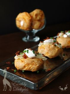These whimsical gougères resemble mini baked potatoes. Get the recipe for these elegant party foods with a delightful comfort-food twist.