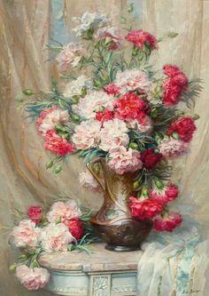 Léo Louppe (1869-?) - Carnations, oil on canvas, 73 x 52 cm.