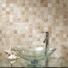 Vanilla Cream Tumbled Marble Mosaic