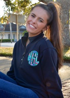 Preppy Lilly Pulitzer Monogrammed Quarter Zip Pullover Sweatshirt by TantrumEmbroidery on Etsy