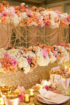 Wedding decorations in gold