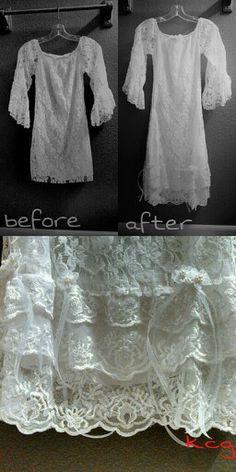 Alterations. Lengthen a wedding dress.