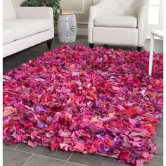 Safavieh Handmade Decorative Rio Shag Fuchsia/ Purple Area Rug (5' x 8') (SG951F-5) (Polyester, Abstract)