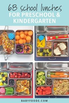 These 68 Preschool or Kindergarten School Lunch Ideas are great healthy and colorful lunches that are also easy to pack. You could also use these school lunch ideas for older kids, you will just have to pack more. 13 weeks of school lunches that will sure to be a hit with your little one! #schoollunch #kindergarten #lunch #schoollunchideas Cold School Lunches, Creative School Lunches, Kids Lunch For School, Healthy Lunches For Kids, Toddler Lunches, Lunch Snacks, Kids Meals, Easy Meals, Bag Lunches