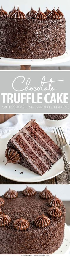 Chocolate Truffle Cake - a chocolate layer cake recipe with dense, moist chocolate cake, silky chocolate truffle frosting and chocolate flakes. Layer Cake Recipes, Cupcake Recipes, Cupcake Cakes, Dessert Recipes, Cupcakes, Poke Cakes, Baking Recipes, Baking Desserts, Snack Recipes
