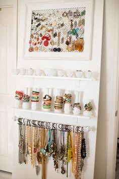 Becki Crosby (aka Whippy Cake) and her studio are featured in the Nov/Dec/Jan '14 issue of Where Women Create magazine | Photography by Jessica Downey #jewelry #organization #studio Jewelry Storage, Jewellery Organization, Diy Jewelry Box, Jewelry Organizer Wall, Jewelry Wall Hanger, Bracelet Storage, Bracelet Organizer, Necklace Hanger, Hanging Jewelry