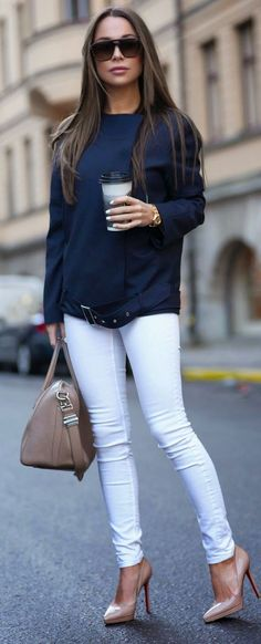 Blue jacket, white pants, nude shoes, nude purse...the coffee is optional.