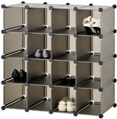 VonHaus 16x Black Interlocking Storage Shelves for Organising Shoes, Clothing, Toys: Amazon.co.uk: Kitchen & Home