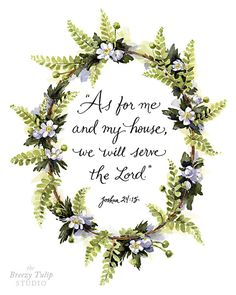 Items similar to We Will Serve the Lord - Watercolor Art Print - Hand Lettering - Woodland Home Decor on Etsy Bible Verse Art, Serve The Lord, Hand Lettering, Scripture Lettering, God Is Good, Christian Quotes, Word Art, Gods Love, Watercolor Art