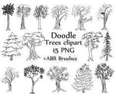 Trees doodle clipart: TREES CLIPART Line art Tree Silhouette Whimsical Tree Clipart Pine Tree Graphic ABR brushes Digital trees clipart You will receive: - 15 high resolution 300 dpi digital clip art overlays + ABR Photoshop Brushes - PNG format with a transparent background - High