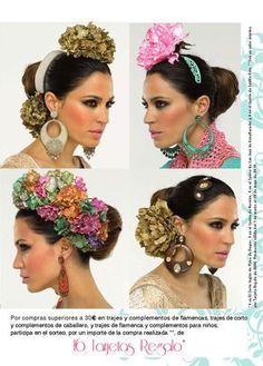 moda flamenca 2014 ECI | PDF Flipbook Spanish Themed Weddings, Spanish Wedding, Flower Hair Clips, Flowers In Hair, Headdress, Headpiece, Flamenco Costume, Leather Projects, Edwardian Fashion