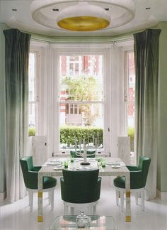 ombre draperies, kelly green and gold decor