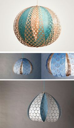 Beautiful paper lanterns add artistic flair to any room. Miss Moss : Humble Abode DIY Paper Lanterns Laser Cut Lamps, Paper Lampshade, Globe Lamps, Paper Light, Creation Deco, Diy Candles, Lamp Shades, Lamp Design, Lighting Design
