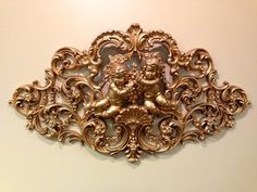 Vintage 1960's Burwood Syroco Large Golden Cherub Wall Hanging - 51 Inches Wide on Etsy, $149.99