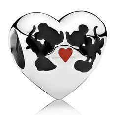 Coração Mickey e Minnie modelo Pandora, Disney, berloque charm prata maciça 925