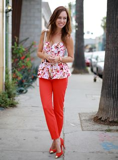 Petite Fashion Bloggers :: Sydne Style :: Peplum Bustier and Red Trousers