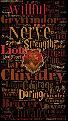 This print embodies the unique traits of the House of Gryffindor. This is what it takes to become a student of Gryffindor; confident, passionate and brave are all traits that we see possessed by the Gryffindor characters in Harry Potter. Harry Potter Casas, Casas Estilo Harry Potter, Mundo Harry Potter, Harry James Potter, Harry Potter Quotes, Harry Potter Universal, Harry Potter Fandom, Harry Potter World, Harry Potter Houses Traits