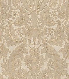 San Marco (2330) - Albany Wallpapers - A beautiful italian weight wallcovering with a silk textured damask design on a woven fabric textured background in shades of beige outlined in gold. Please request sample for true colour match. Co-ordinating textured plains available.