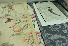 Oriental garden curtain with a drawing of the featured birds