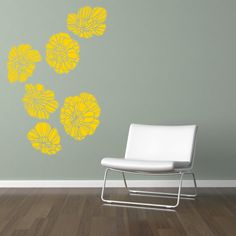 Algajola Flower Wall Decal Yellow Ocher Discover More Ideas - Yellow flower wall decals