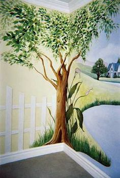 Murals Faux Finishing - Tips, Advice, and Ideas: Types of Tree Murals Faux Painting, Mural Painting, Mural Wall Art, Tree Wall Painting, Tree Wall Murals, Tree On Wall, Tree Mural Kids, Church Nursery, Wall Drawing
