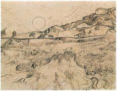 Enclosed Wheat Field with Reaper  Drawing, Pen, reed pen  Saint-Rémy: June - late in month, 1889  Kupferstichkabinett  Berlin, Germany, Europe