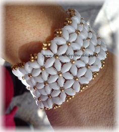 Items similar to Womens Bracelet, handmade beadwork, white SuperDuo beads and Czech Precosa gold seed beads. Bracelet fit up to 16 cm wrist.( on Etsy Shell Decorations, Super Duo Beads, Handmade Bracelets, Beading Patterns, Seed Beads, Beadwork, Flat, Gold, Etsy
