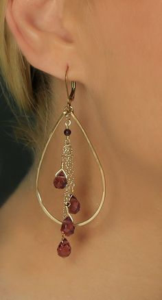 Teardrop Hoop Earring Gold Amethyst Quartz by BethDevineDesigns, $64.00