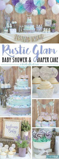 "Ton's of great ideas for a baby shower with this ""Rustic Glam"" Baby Shower for a Baby Girl. Plus how to make a diaper cake. Aqua & Purple baby shower. #SuperAbsorbent #ad 