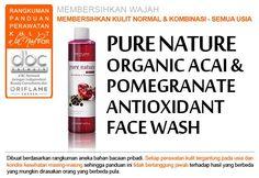 Pure Nature Organic Açai & Pomegranate Antioxidant Face Wash ( 21556  )   Face wash segar, mengandung ekstrak Açai berry dan Pomegranate yang lembut membersihkan wajah dari make-up dan kotoran. 150 ml.