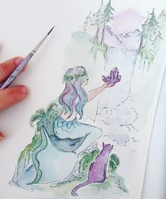 Artwork print now available!  Amethyst Forest Mermaid  This was inspired by the forests in the Pacific Northwest... covered in moss draped in ferns laced in mist... With snow covered mountain peaks towering evergreen trees and crystal clear waterfalls  This mermaid is a pelagic explorer. She collects shells crystals stones and treasure and keeps them in underwater caves she has found all over the world. Twice a year she swims from the ocean up a river to this waterfall in the mountains to…