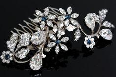 Rhinestone Flower hair comb Floral Crystal Wedding by LuluSplendor, $130.00