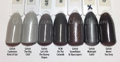 Gel polish comparison, greys