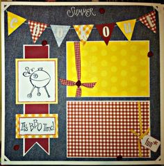 """Premade 12x12"""" Scrapbook 2 Page Set Summer Cookout BBQ Picnic Party 