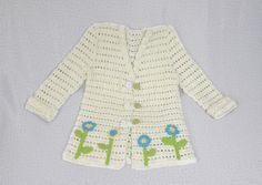 Crochet Girl's Coat Cardigan Sweater Flowers Floral by Florfanka