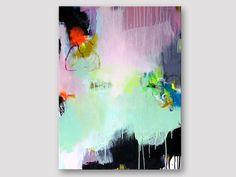 Original fine art, abstract painting, modern art, acrylic painting, pink mint lemon green black painting, bold colors, canvas painting