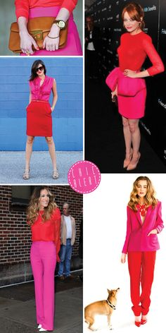 Pink and red color blocking